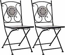 Chaises de bistrot mosaique 2 pcs Gris
