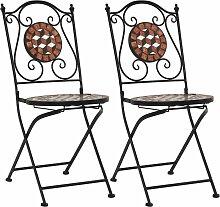 Chaises de bistrot mosaïque 2 pcs Marron