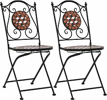 Chaises de bistrot mosaique 2 pcs Marron Ceramique
