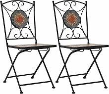 Chaises de bistrot mosaïque 2 pcs Orange et gris