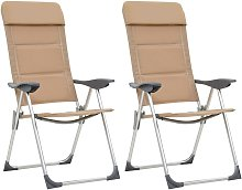 Chaises de camping 2 pcs Crème 58x69x111 cm