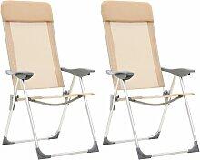 Chaises de camping pliables 2 pcs Crème Aluminium