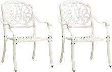Chaises de jardin 2 pcs Aluminium coulé Blanc