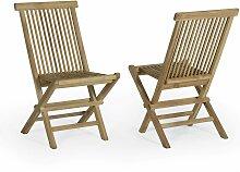 Chaises de jardin pliantes en teck  (lot de 2)
