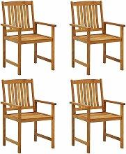 Chaises de metteur en scène 4 pcs Bois massif