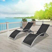 Chaises longues avec table Aluminium Noir