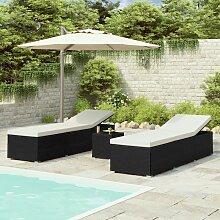 Chaises longues de jardin table à thé 3 pcs