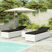 Chaises longues de jardin table à thé 3pcs
