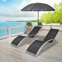 Chaises longues et parasol Aluminium Noir
