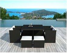 Chaises (lot de 4) + 4 poufs + table de jardin