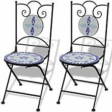 Chaises pliables de bistro 2 pcs Céramique Bleu