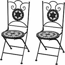 Chaises pliables de bistro 2 pcs Céramique Noir