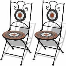 Chaises pliables de bistro 2 pcs Céramique Terre