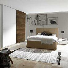 Chambre adulte moderne blanc et couleur noyer