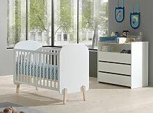 Chambre bébé 3 pièces lit commode et plan à