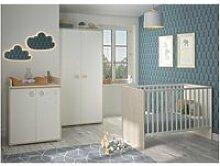 Chambre bébé complète blanc/pin blanchi - balam