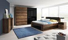 Chambre complète chêne foncé et noire - Cosmos