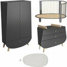 Chambre complète lit bébé évolutif commode à