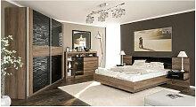 Chambre FESTA 160x200 cm black - ARMOIRE: avec