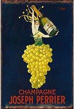 Champagne Plaque en Fer Blanc Métallique Vintage