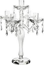 Chandelier à pampilles 5 branches en verre H 30 cm
