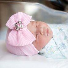 Chapeau tricoté rayé pour bébé fille, bonnet