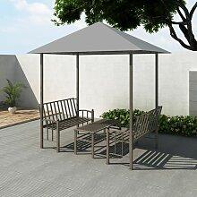 Chapiteau de jardin avec table et bancs