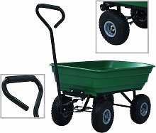 Chariot a main de jardin 300 kg 75 L Vert