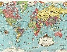 Chase 1931 Carte du monde avec animaux Grand