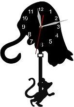 Chat et souris balancier pendule horloge murale