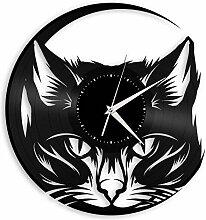 Chat Vinyle Horloge Murale décor rétro Home