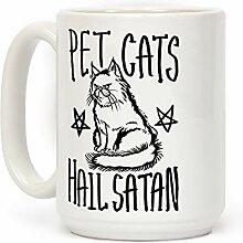 Chats de compagnie Hail Satan Blanc 11 onces Tasse