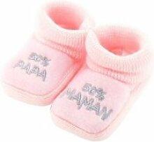 Chaussons pour bébé 0 à 3 mois rose - 50 maman