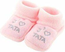 Chaussons pour bébé 0 à 3 mois rose -