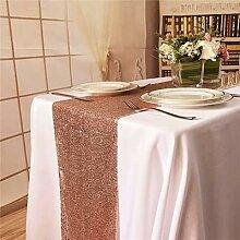 Chemin de Table à paillettes or Rose 180x30cm,