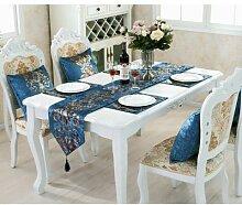 Chemin de table bleu de style européen, chemin de