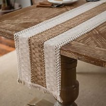 Chemin de Table en Crochet ajouré, rayures en