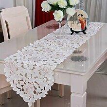 Chemin de Table en dentelle brodée de fleurs,