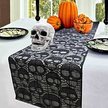 Chemin de Table en dentelle noire pour Halloween,