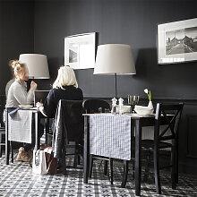 Chemin de table en satin de coton bleu 55x140