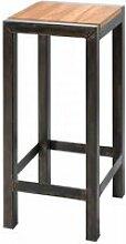 Chene - tabouret robuste en acier et chêne
