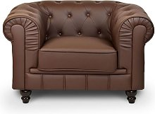 CHESTERFIELD - Fauteuil chesterfield marron