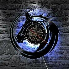 Cheval Horloge Murale 12 Pouces LED Disque Vinyle,