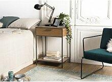 Chevet 1 tiroir 1 étagère Sapin et métal -