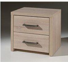 Chevet 2 tiroirs imitation chêne clair ch2003