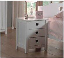 Chevet 3 tiroirs en bois blanc ch2001