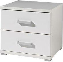 Chevet blanc 2 tiroirs- MILAN