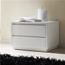 Chevet laqué blanc design CARLA, 2 tiroirs