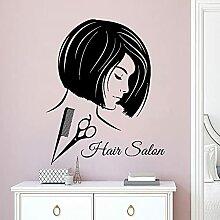 Cheveux Design Wall Sticker Peigne Ciseaux Outil