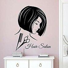 Cheveux Design Wall Sticker Peigne Ciseaux Outils